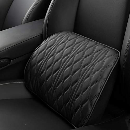 XQRYUB Memory Foam Car Headrest Pillow Leather Embroidered Seat Supports Sets Back Cushion Adjustment Auto Neck Rest Lumbar Pillows