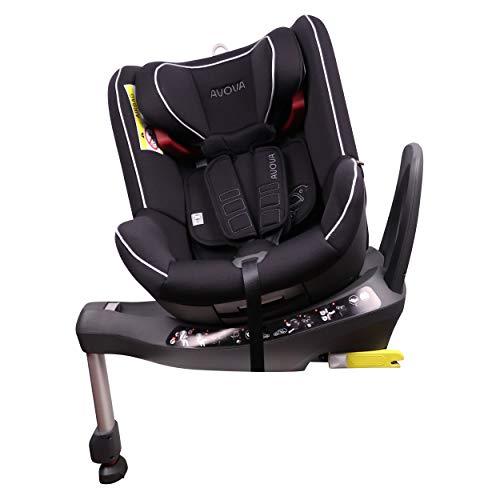 AVOVA Babyautositz SWAN-Fix drehbar 360° Pearl Black Baby und Kinder Auto Sitz mit ISOFIX für Kinder von 0-7 Jahren 0-25kg