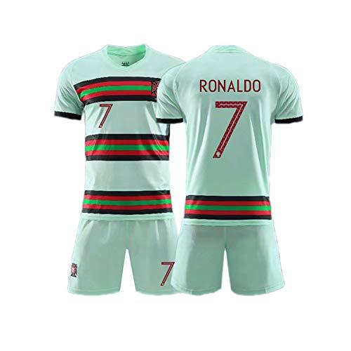 LCHENX Herren Jungen Cristiano Ronaldo CR7 Fan Fußball Trikotsets,Portugal Fußballmannschaft #7 Fußballtrikot T-Shirts Und Shorts,Grün,M