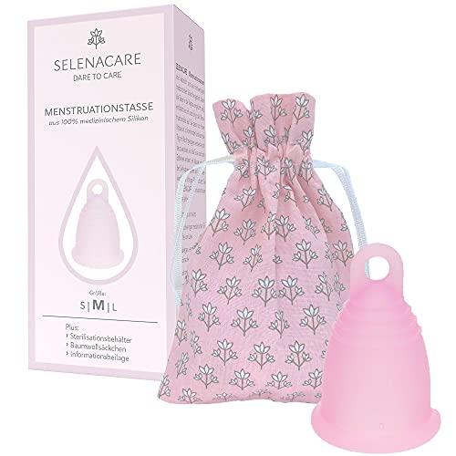 Selenacare Menstruationstasse Premium - waschbarer Periodencup aus medizinischem Silikon - mit Reinigungsbehälter und Aufbewahrungsbeutel aus Baumwolle, Rosa, Größe M (26ml)