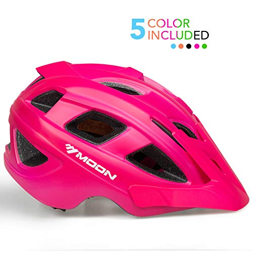 MOON Kids Bike Helmet,Knucklehead Unisex Youth Mountain Road Bicycle Helmet for Girls and Boys with Detachable Visor (Pink, M)