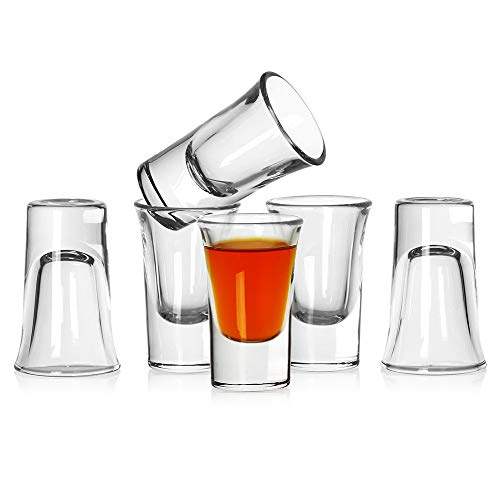 Bavel Shot Glass Set of 6,Heavy Base Clear Shot Glass, Great for Whisky Brandy Vodka Rum and Tequila Shot Set (0.9 OZ)
