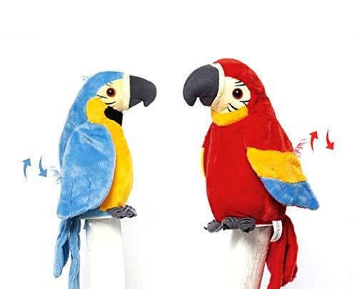 Giocattolo elettronico in peluche, pappagallo per imparare a parlare, parrot giocattoli interattivi intelligenti, regalo di Natale e compleanno per bambini, colore: rosso, blu