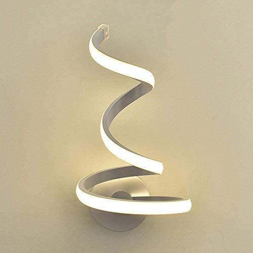 Matefielduk Lámpara de Pared LED Moderna Espiral,Apliques de Pared Dormitorio,Bajo Consumo de Energía,Lámpara de pared Acrílica,Utilizado en Dormitorio,Estudio,Escalera