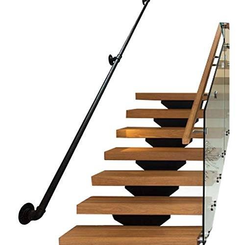 YERT-Pasamanos 30-600 cm. Barandilla de Escalera de Hierro Forjado de Metal de Hierro Forjado Negro para Interiores, pasamanos de Exterior, barandillas de Escalera, Tamaño (180cm)