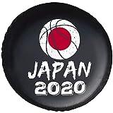 タイヤカバー スペアタイヤカバー タイヤバッグ バスケットボール ジャパン 2020年東京オリンピック レザー 背面スペアカバー 軽自動車 防日焼け 14-17インチ 防水 保管カバー ジープトレーラー SUV トラック トラベル タイヤ収納 カー用品 車用