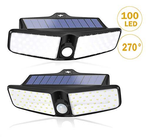 XZN Solarlampen für Außen mit Bewegungsmelder 2 Stück, 270° Beleuchtung Weitwinkel, IP65 Wasserdichte Wandleuchte, 100 LED 700 Lumen Superhelle, 1800mAh Solarleuchten für Garten, Garage, Terrasse