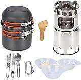 GXT Camping Cookware Mess Kit Kit Camp Cocinero Conjunto con Estufa de Camping al Aire Libre, Mochila de aleación Ligera Juego de cocción No Stick Camping Pot and Pans Set Suministros de Picnic