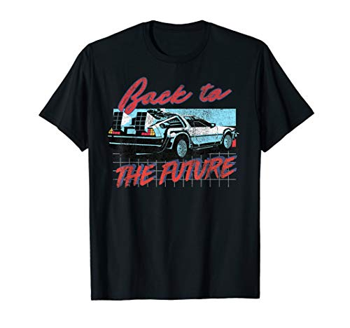 Back To The Future DeLorean 80s Grid Portrait T-Shirt, Adult and Child Sizes