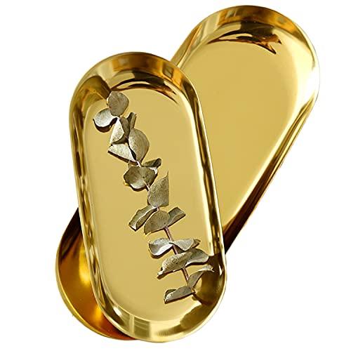 Juego de 2 bandejas ovaladas de acero inoxidable para joyas, plato, té, bolos de fruta, joyería cosmética, oro, ovaladas – 2 tamaños