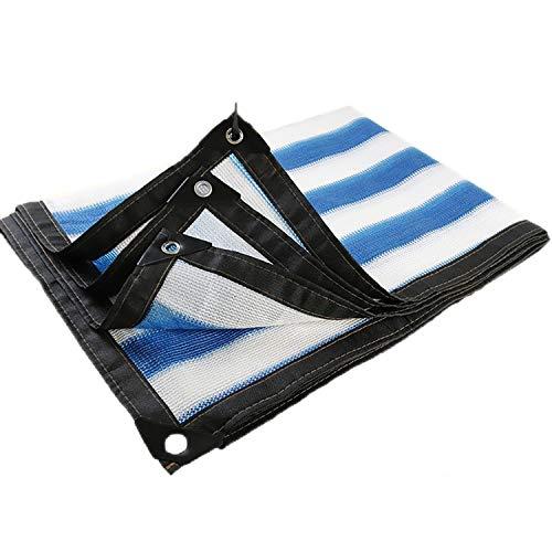 85% Blue&White Sun Shade Cloth Pergola Canopy Patio Lawn Shade Fabric Sun Mesh Flowers Plants Cover Poly Tarp Multi-Purpose Anti-Tear Cloth Cover, Awning (Color : Siripe, Size : 9.9×33FT/3X10M)