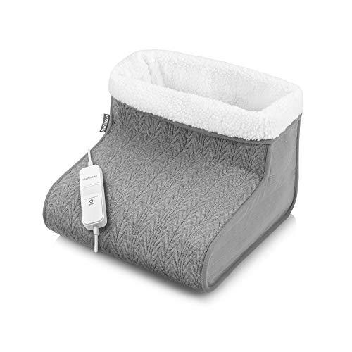 Medisana FW 150 Calientapiés, Calentador de pie en tejido de punto, eléctrico, 100W, 3 ajustes de temperatura, protección contra el sobrecalentamiento, forro interior esponjoso y lavable