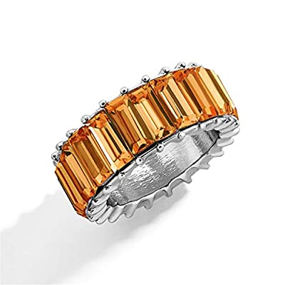 Amazon - Save 60%: Created-Gemstone Eternity Ring for Women, Rainbow Rings Eternity Ring Anniver…