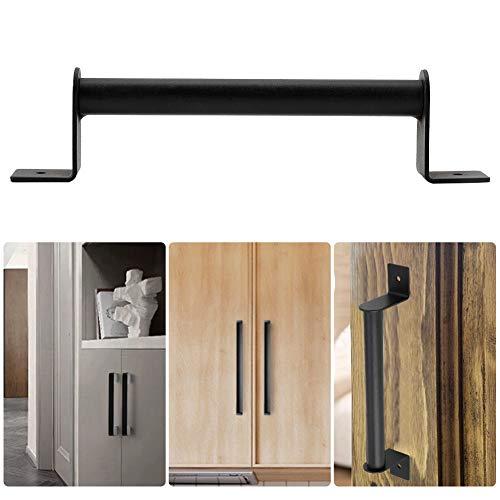 HEEPDD deurgreep voor schuurdeuren, zwarte high-performance koolstofstaal-stootgreep voor schuifdeurkast-houten deurbeslag met bevestigingsschroeven meegeleverd