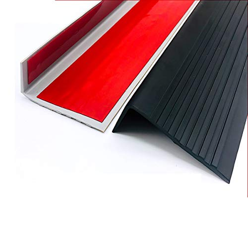 NEHARO Escalera Edge Red Trim PVC 1M Longitud Autoadhesivo Stair Anti resbalón Rose 60x25mm ángulo Paso Edge para la protección de Las escaleras 10 unids Piso (Color : Black, Size : 6x2.5x100cm)