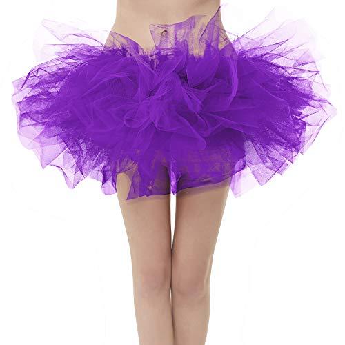 Girstunm Women's Classic Layers Fluffy Costume Tulle Bubble Skirt Dark-Purple-Plus Size