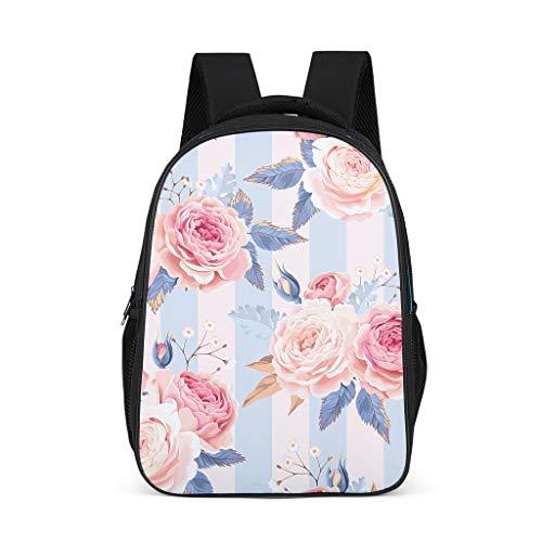 Plant bloem roze blauw roos rugzak schooltas mode meisjes universiteit reizen multifunctionele buiten Eén maat grijs