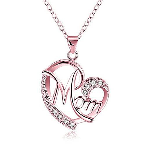 Clásico Exquisito Collar de Cadena de Plata con corazón de Amor de mamá, Collar con Colgante de Mujer, Collar de te Amo mamá, Collar de corazón para mamá Los Mejores Regalos (Oro Rosa)