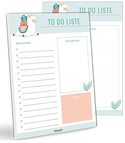 blaash® To Do Block DIN A5 Alpaka, Lama | 50 Seiten Tagesplaner mit Listen für Aufgaben, Notizen und Ideen |Organisation und Motivation im Alltag ToDo Liste Block Notizblock To Do