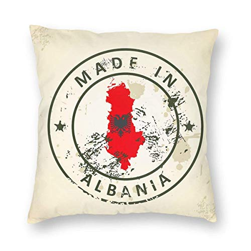 wteqofy Velvet Throw Pillow Cases,Stamp with Map Flag of Albania,Pillow Covers Decorative 18x18 in Pillowcase Cushion Covers with Zipper