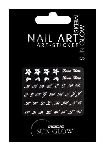 Medis Sun Glow Nail Art-Sticker ABC Weiß/Pink, Motiv 4270, 4er Pack (4 x 1 Stück)