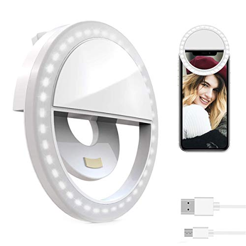 NAMTHEUN Selfie Ring Light for Laptop,Portable[Rechargeable] Selfie Ring Light Clip on Phone Used for iPhone Laptop Android Smart Phone Photography Camera Video Girls Makeup Round Shape White