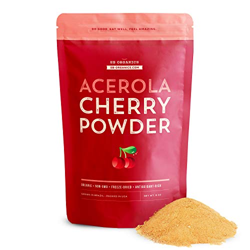 SB Organics Acerola Cherry Powder - 8 oz Bag of Organic Non-GMO Freeze-Dried Powdered Pure Acerola Cherries from Brazil - Naturally Rich in Vitamin C and Antioxidants