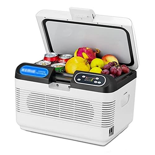 Refrigerador de automóvil de Doble refrigeración Dual, Mini refrigerador doméstico, congelador refrigerado portátil, Barra de Hielo de Bebidas para Acampar (Color : Blanco, Size : 41 * 30 * 29cm)