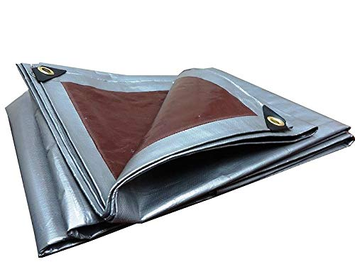 Tarpaulin 3 x 4 m Extra Strong Silver 210 g/m2 Ground Sheet with Metal Rings Covers Sun Shading Hammock Tent Portable Waterproof Cover Car Roof for Outdoor Hiking
