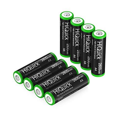 HiQuick 電池 単3 充電式 単3充電池 ニッケル水素 充電池 2800mAh 8本入り ケース2個付き 約1200回使用可能 単3電池 充電式 単三充電池セット