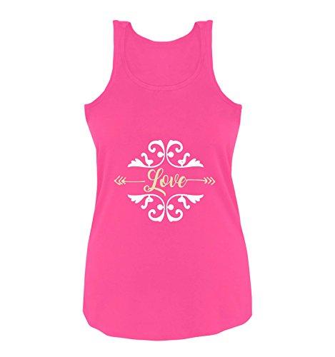 Comedy Shirts - Love Ornament - Damen Tank Top - Pink/Beige-Weiss Gr. L