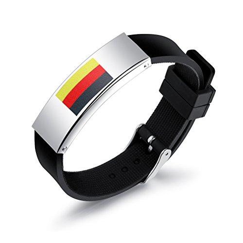 BESTOYARD Fißball Fanartikel Armband Silikon Fußball Armband Deutschland Flaggen Armband 2018 WM mit Verstellbarer Verschlus für Fußball Fan