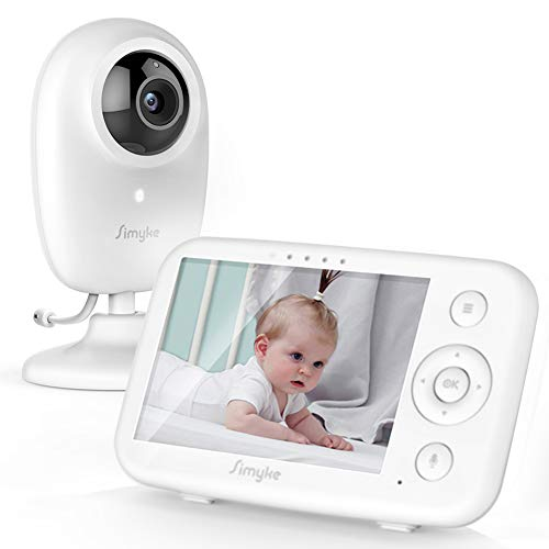 "Simyke Baby Monitor Video Baby Monitor 3.5"" LCD Screen Digital Camera with Long Range Night Vision Temperature Monitoring VOX Auto Lullaby Function 2 Way Talk Support Multi Cameras"
