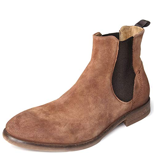 Mens Hudson London Watchley Suede Smart Office Formal Chelsea Ankle Boots - Tan - 12