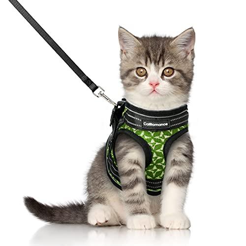 CatRomance Katzengeschirr mit Leine Verstellbar Geschirr für Katzen, Ausbruchsicher Welpengeschirr mit Reflektierenden Streifen, Brustgeschirr Katzen Weste für Kitten Welpen & kleine Hunde (S, Grün)