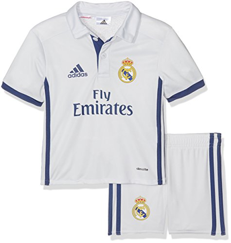 adidas Kinder Real Madrid Mini-heimausrüstung, Crystal White/Raw Purple, 98