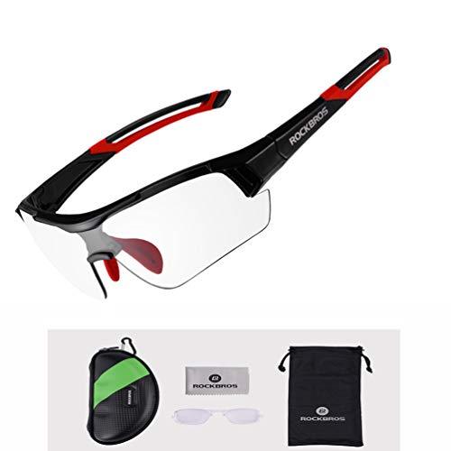 ROCKBROS Radbrille Sonnenbrille Photochromatische Polarisierte Brille Halbrahmen UV-Schutz Ultralleicht(Rot)