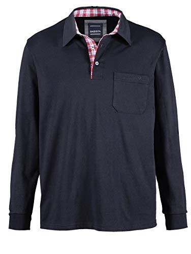 BABISTA Herren Polo-Shirt – Langarm-Shirt aus Reiner Baumwolle, Leichter Pullover mit kariertem Webbesatz im Kragen, Polo-Hemd in Bordeaux, Gr. 52, Marineblau, Gr. 50