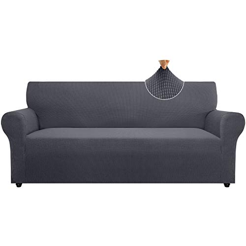 Cherrypark High Stretch Sofa Cover for 3 Cushion Couch 1 Piece Thickened Couch Cover for Dogs Anti-Slip Furniture Protector with Elastic Band(Large,Gray)