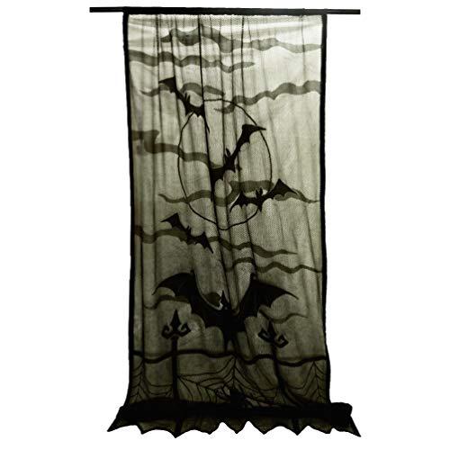 San Tungus Black Bats Halloween Lace Window Curtain Background, Halloween Black Spooky Spider Web Door Backdrops Panel for Halloween Window Decoration, 40 x 84 Inches