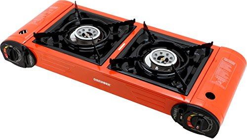 Orework 356777 Tragbarer Gaskocher Doppelkocher, Orange