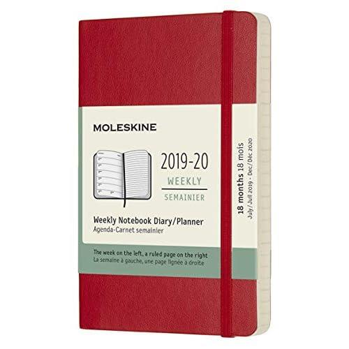 (modello precedente) - Moleskine Agenda 18 Mesi Settimanale anno 2019/2020 con Copertina Morbida e Chiusura ad Elastico, Rosso Scarlatto, Dimensione Pocket 9 x 14 cm, 208 Pagine