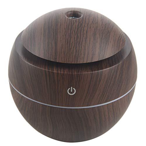 Cavis Humidificador de Aroma USB Difusor de aceites Esenciales Humidificador ultrasonico de Niebla Fria Purificador de Aire 7 Color Change LED Luz de Noche: Madera Oscura