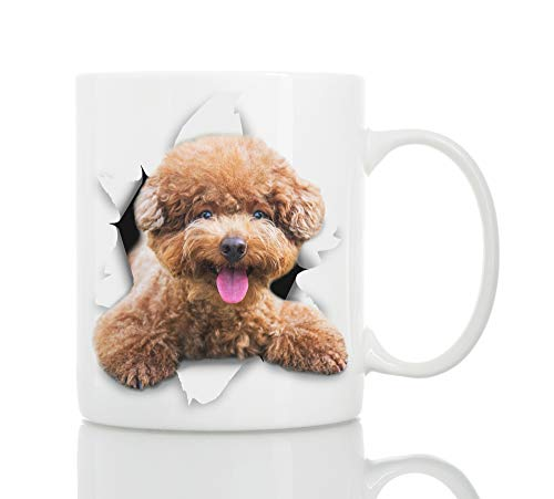Funny Brown Poodle Mug - Ceramic Funny Coffee Mug - Perfect Dog Lover Poodle Gifts - Cute Novelty Coffee Mug Present - Great Birthday or Christmas Surprise for Friend or Coworker, Men and Women (11oz)