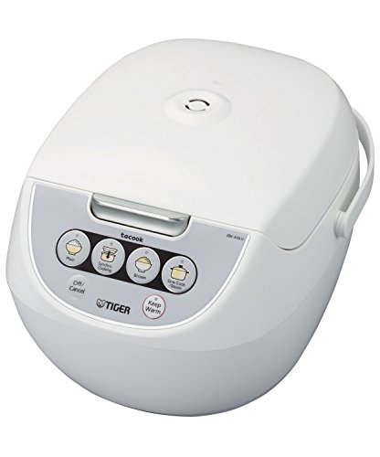 TIGER JBV-A10U 5.5-Cup (Uncooked) Micom Rice Cooker with Food Steamer Basket, White Image