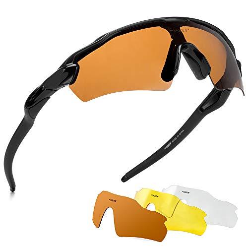 BATFOX Polarized Sports Sunglasses Glasses TAC Running Cycling Baseball Fishing Golf Softball Outdoor for Men Women Youth Interchangeable Lenses Tr90 Unbreakable Frame 100% UV Protection