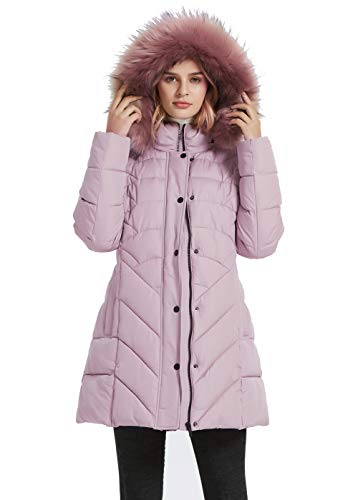 BINACL Hooded Warm Winter Coats, Extreme Cold Windproof Fashion Women Outwear Rampaging Fleece Padding Mountain Bike Quilted Lightweight Cotton Padding Jacket with Faux Fur for Spring(Peachy Beige,M)