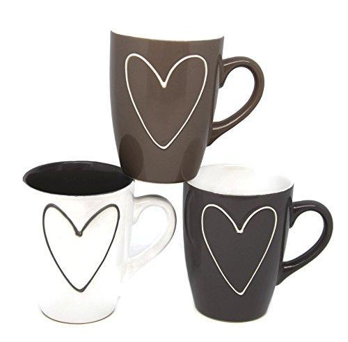 Bada Bing 3er Set Tassen Herz Tricolor grau weiß Taupe Kaffeebecher 31353
