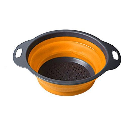 Escurridor de cocina plegable, de silicona, Naranja, Small