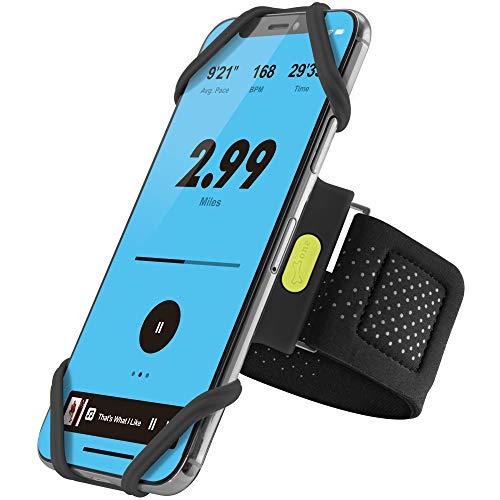 Bone Sportarmband für Handy, Federleichtes Handy Armband zum Joggen Handytasche Sport, Handyhalter Arm für iPhone 11 Pro Max XS XR X 8 Samsung Huawei - Schwarz (XL) (Armumfang: 33-54.5cm)